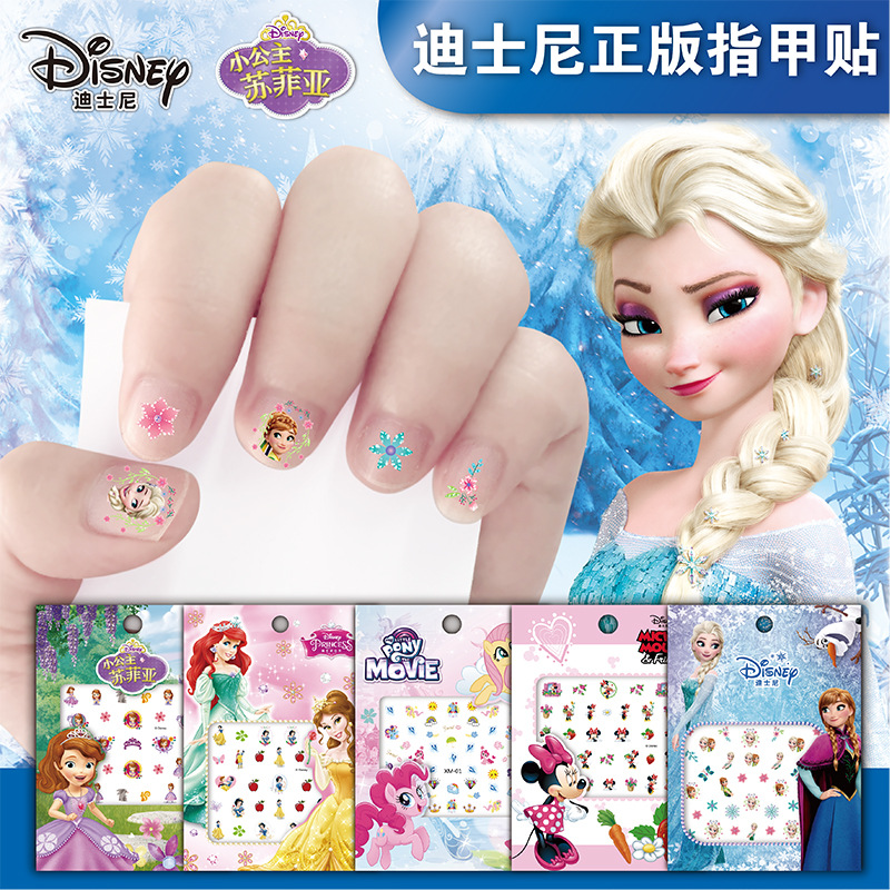 1 stück Disney mädchen Gefrorene elsa und Anna Make-Up Spielzeug Nagel Aufkleber schnee Weiß Prinzessin Sophia Minnie kinder Disney aufkleber spielzeug