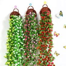 230cm de largo Artificial glicinia flor vid seda Hortensia ratán DIY boda decoración de fiesta de cumpleaños pared telón de fondo flores