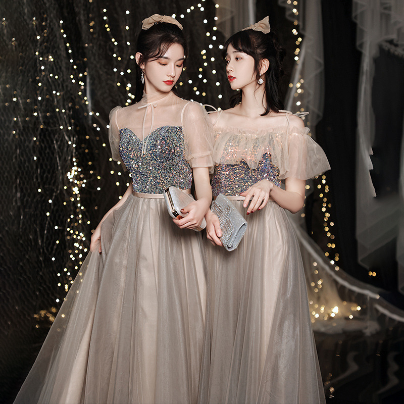 Spring Summer Young Women Long Sister Bridesmaid Dresses Elegant Tulle Bling New Wedding Guest Dress Party Gown Vestido JQ816