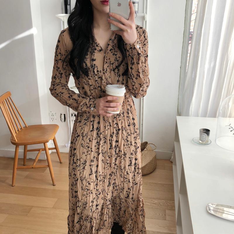 H2a75c1f81f5144ca972ba30e1ac14ee4B - Autumn Korean V-Neck Long Sleeves Chiffon Floral Print Midi Dress