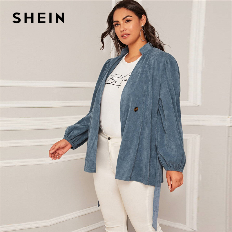 SHEIN Plus Size Blue Corduroy Lantern Sleeve Belted Coat Women Autumn Stand Collar Casual Plus Solid Outwear Coats 2