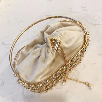 Black & Apricot Silver Diamond Metal Basket Ladies Shoulder Chain Tote  4