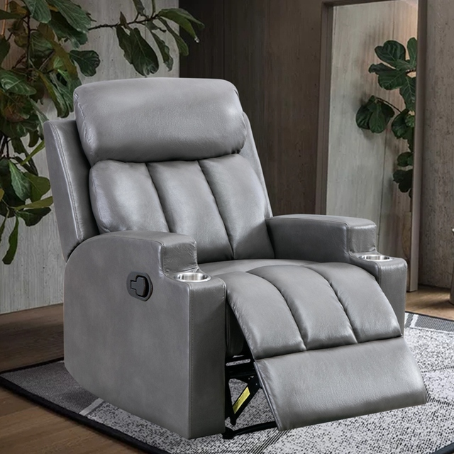 Leather Recliner Chair with 2 Cup Holders for Contemporary Theater Seating 4