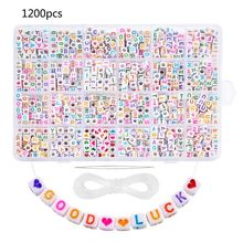 1200PCS Acrylic Letter Beads White Square Cube Letter Beads Alphabet Beads A-Z Bracelet Necklace Beads Jewelry Making free shipping 100 pcs mixed 7 colors square wood beads letter a z cube sewing scrapbooking crafts handmade 1 hole wooden button