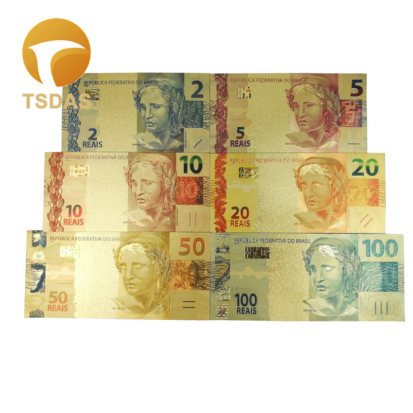 6Pcs/Set Color Brazil 2-100 REALS 24k Foil Gold Plated Banknote Normal Bank Note Limited Collection for Birthday Gift
