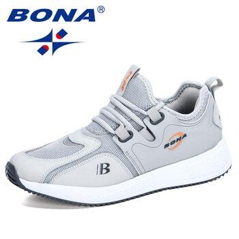 BONA 2020 New Designers Slip-On Lightweight Mesh Men Casual Shoes Breathable Comfortable Walking Male Sneakers Tenis Footwear