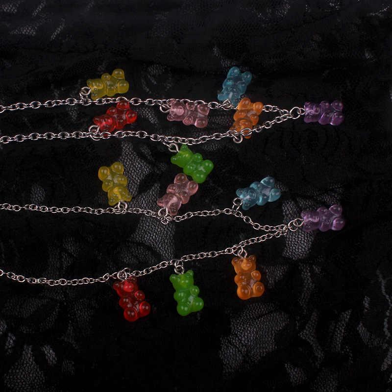 Handmade 7 สีน่ารัก JUDY การ์ตูนหมีสแตนเลสสร้อยคอลูกอมสีจี้สำหรับสตรีทุกวันเครื่องประดับของขวัญ