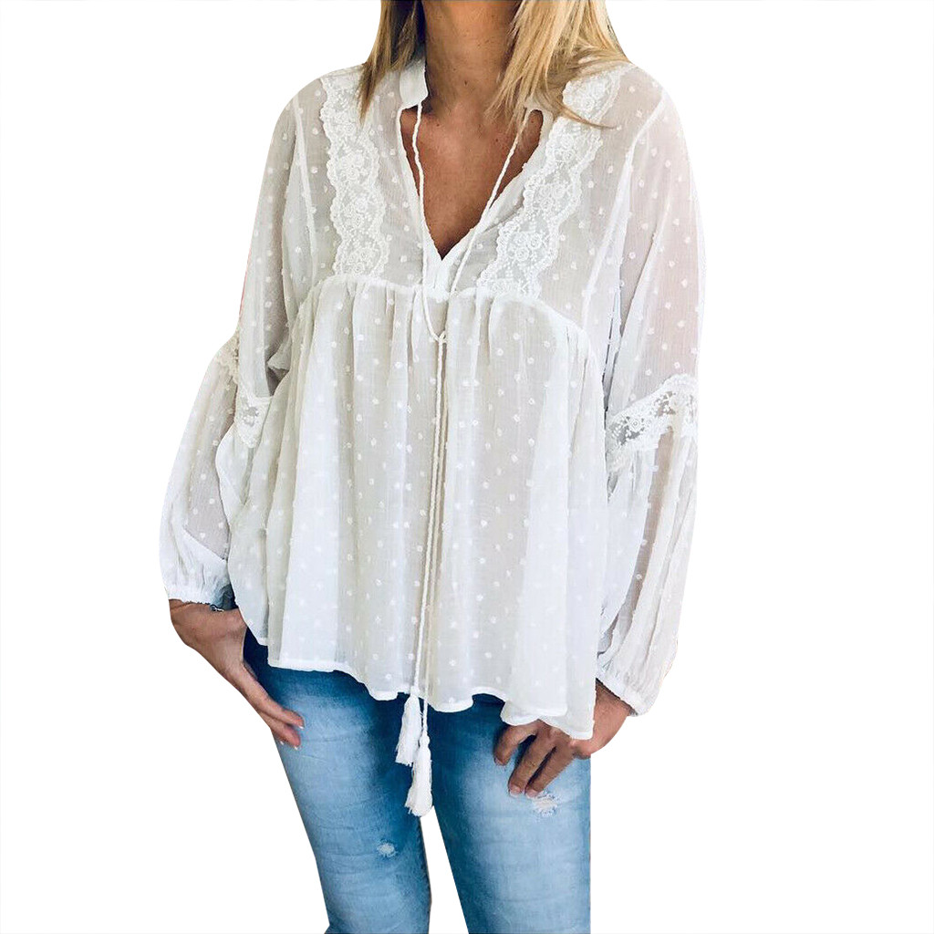 2019 Lace Patchwork Chiffon Loose Blouse Women Fashion New Tops Boho Long Sleeve V-Neck Shirt Female Polka Dot Ruffles Blusas #B