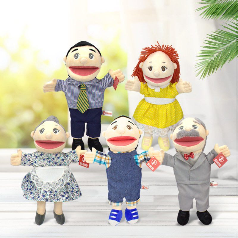 30cm A Family Open Mouth Puppet New Kindergarten Show Mom And Dad Ventriloquist To Tell A Story Puppet Role Play Hand Puppet