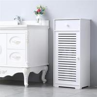 Single Door Wooden Floor Standing Storage Cabinet With Drawer Three Compartments for Home Living Room Bathroom
