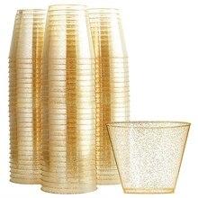 100 блестящие пластиковые стаканчики 10 унций прозрачные пластиковые стаканчики стаканы с золотыми блестками одноразовые Свадебные стаканчики элегантные вечерние стаканчики для вторичной переработки