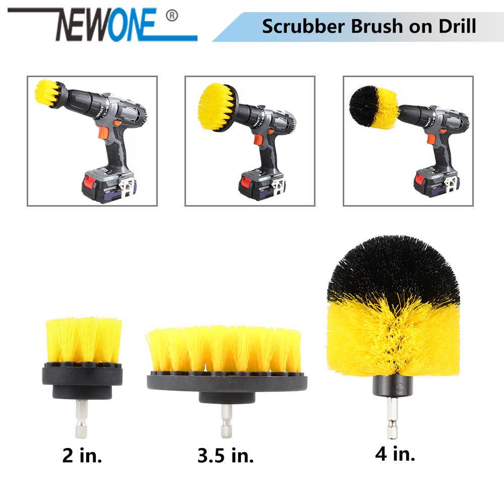 NEWONE Scrubber Brush Drill Brush Clean For Bathroom Surfaces Tub Shower Tile Grout Scrub Cleaning 2/3.5/4 Inch