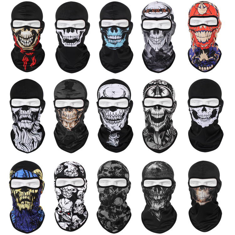 Fashion Breathable Full Face Mask Windproof Dustproof Shield Quick-drying Breathable Skull Cap Outdoor Sunscreen Horror Mask