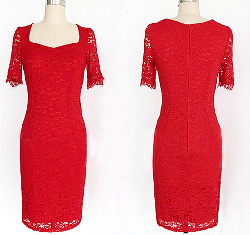 Elegant Red Cocktail Dresses 2020 Sheath Short Sleeves Knee Length Lace Party Homecoming Dresses Bride Dress robe de siree