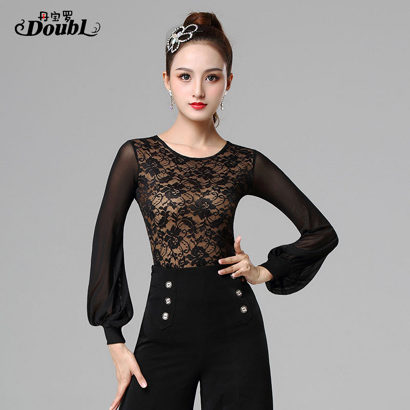 New Sexy Latin Top Dance Clothes Women Latin Salsa Rumba Chacha Dance Long Sleeve Performance Practice Costume