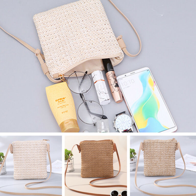Square Straw Beach Bag Vintage Handmade Woven One Shoulder Bags Bohemian Summer Vacation Beach Swimming Bags