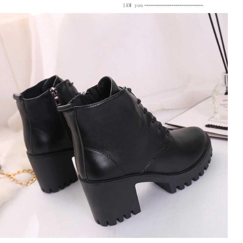 Giày Nữ Giày Nữ Cao Gót Thời Trang Cao Cấp Phối Ren Cổ Chân Giày Nữ Dây Kéo Bên Hông Nền Tảng Da Nhân Tạo Giày Bota Feminina