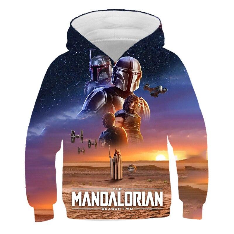 Nuovo 2021 Movie Star Wars The mandaloriano stampa 3D bambini bambino felpe felpa con cappuccio Cosplay Costume giacche con cappuccio 4-14T