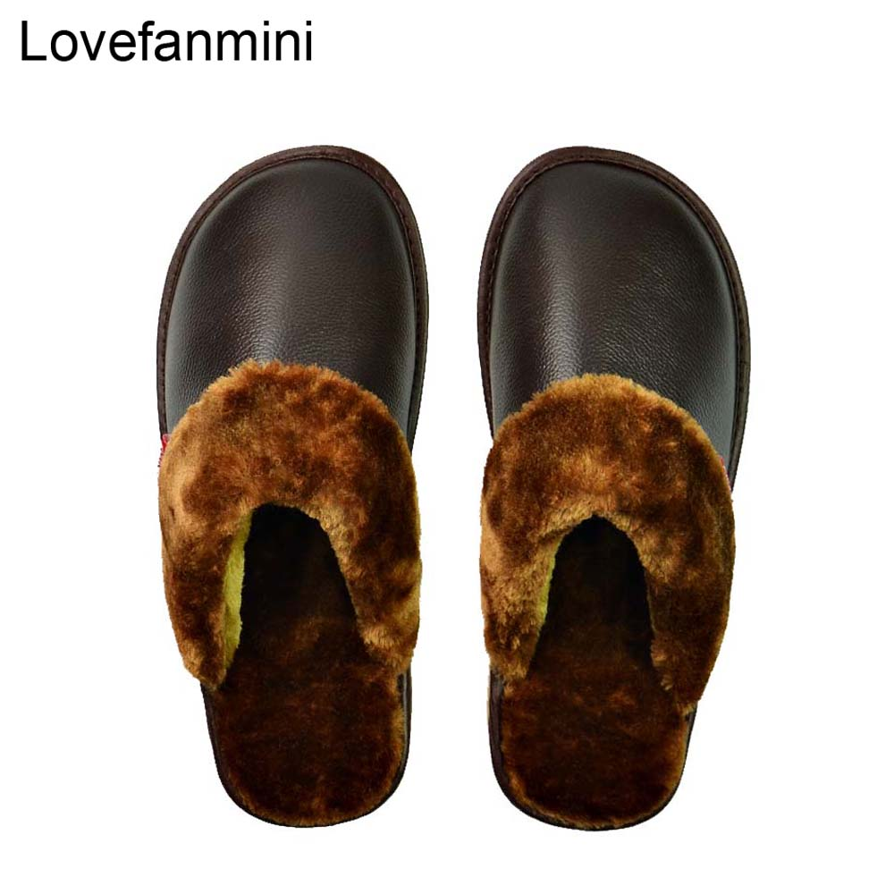 Genuine Cow Leather Slippers Couple Indoor Non-slip Men Women Home Fashion Casual Shoes PVC Soft Soles Winter 601