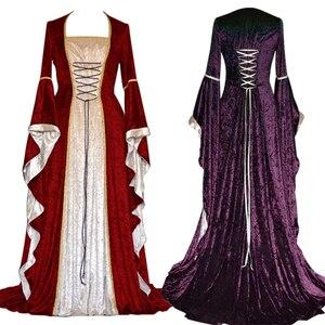 Image 1 - 새로운 중세 드레스 할로윈 의상 여성을위한 코스프레 궁전 고귀한 긴 가운 고대 벨 슬리브 공주 의상 드레스