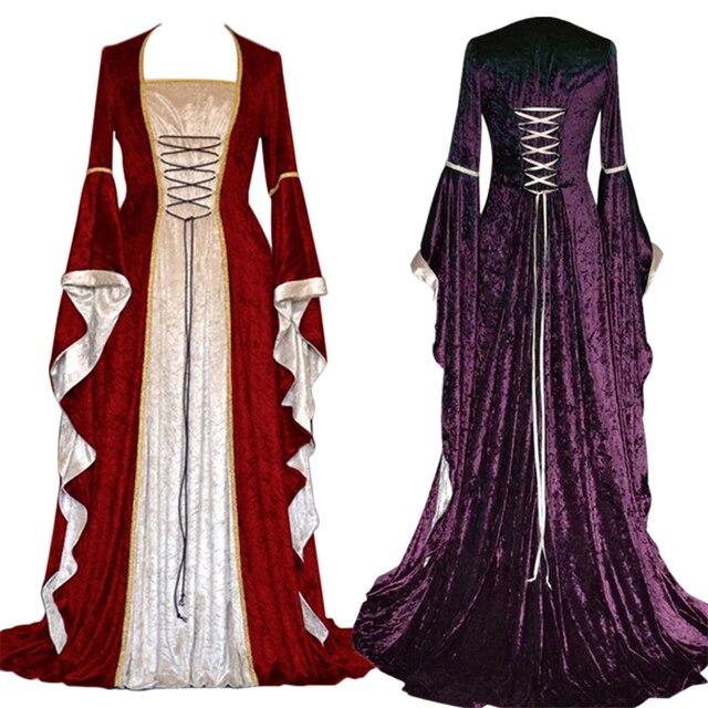 새로운 중세 드레스 할로윈 의상 여성을위한 코스프레 궁전 고귀한 긴 가운 고대 벨 슬리브 공주 의상 드레스
