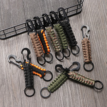 Outdoor Keychain Ring Camping Carabiner Military Paracord Cord Rope Camping Survival Kit Emergency Knot Bottle Opener Tools