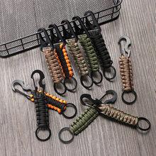 Außen Keychain Ring Camping Karabiner Militär Paracord Schnur Seil Camping Überleben Kit Notfall Knoten Flasche Opener Werkzeuge