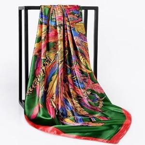 Image 4 - Silk Scarf Women Print hair neck Square Scarves Office Ladies Shawl Bandanna 90*90cm Muslim Hijab Handkerchief muffler foulard