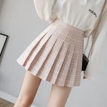 Verão feminino saia shorts de cintura alta a linha costura estudante xadrez plissado saias feminino bonito doce meninas dança mini saia