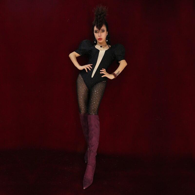 Bar Nightclub Female Singer DJ Dance Outfit Sexy Black Flash Diamond Socks Bodysuit Two-Piece Performance Stage Costume  DL5115