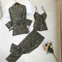 JULYS SONG Woman Spring Pajamas Set 3 Pieces Satin Faux Silk Leopard Printing Sleep Sleepwear Autumn Sling Long Pants Homewear