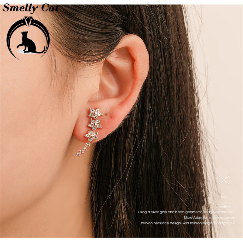 Novel Five-pointed Star Ear Nails Small Fresh Flower Styling Temperament Mini-stud!