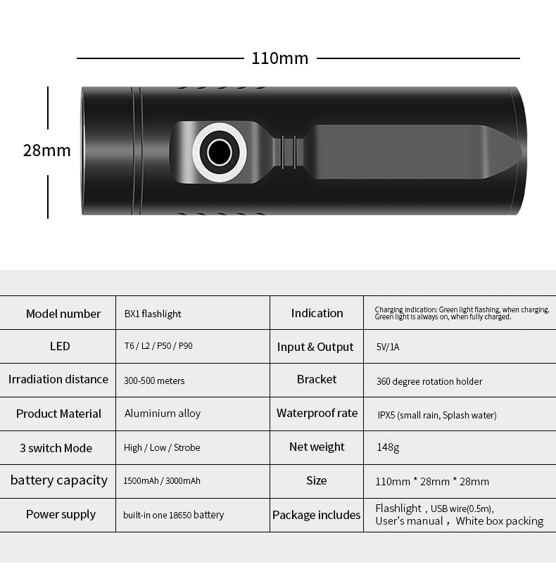USB Flashlight P50/P90 UV LED rechargeable Torch phone Charging Multi-function powerful pocket clip searching light with Battery