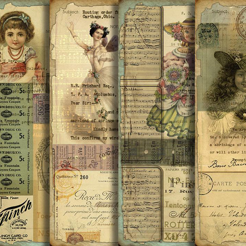 Kawaii Doll Girls Vintage Background Material Paper Junk Journal Decoration DIY Scrapbooking Old Book Page Craft Paper
