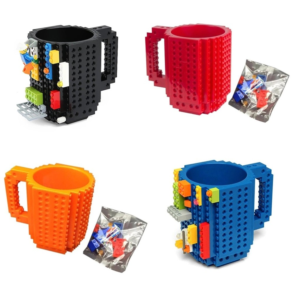 4 Colors Creative Milk Mug Coffee Cup Build-on Brick Mug Cups Drinking Water Holder For LEGO Building Blocks Design DropShipping