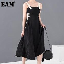 Женское длинное платье EAM, черное Бандажное платье на тонких бретельках, свободный крой, без рукавов, на весну-лето 2020 1S61201S