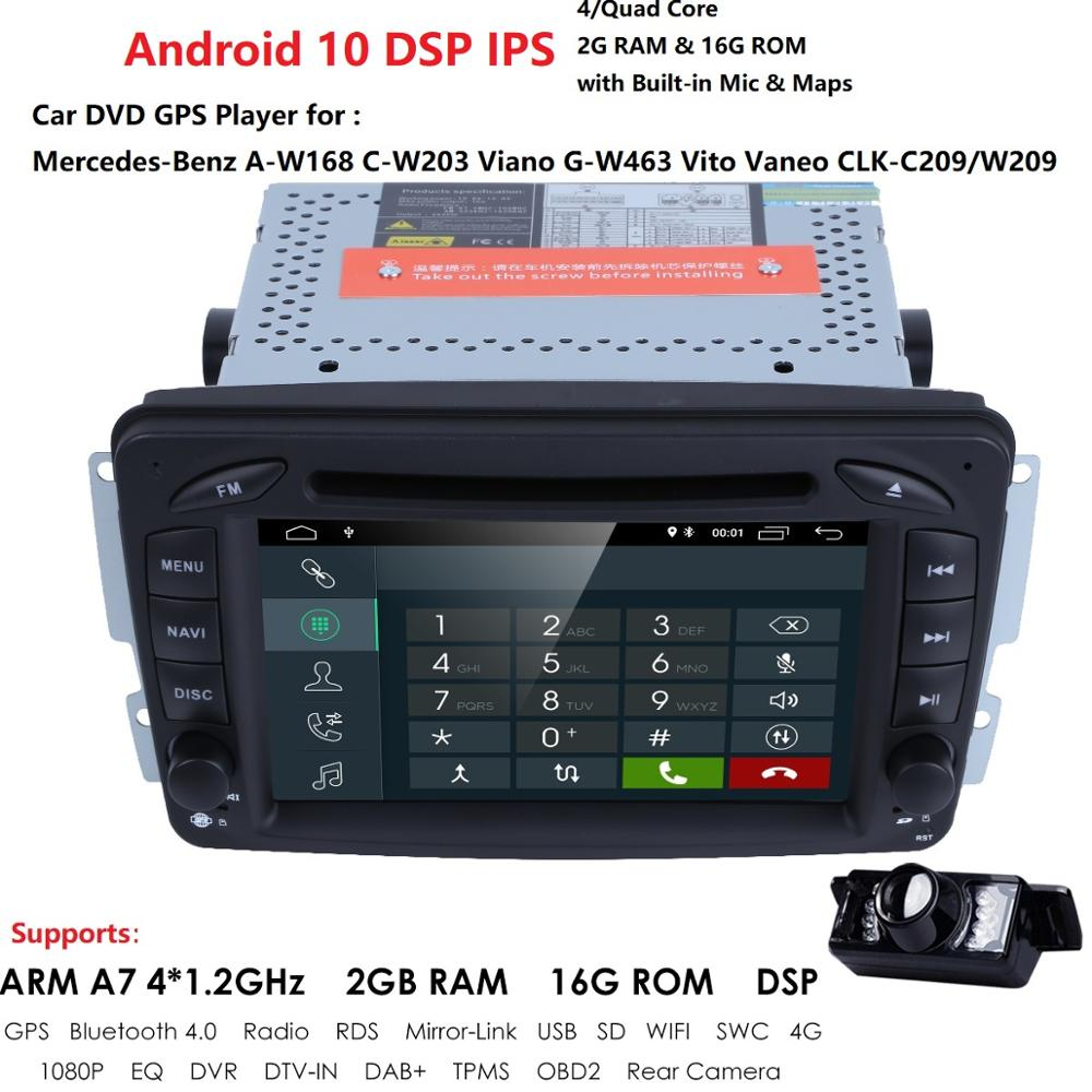 Car Multimedia player <font><b>Android</b></font> 10 <font><b>GPS</b></font> 2 Din Car Radio Player DSP For <font><b>Mercedes</b></font>/Benz/W209/<font><b>W203</b></font>/Viano/W639/Vito FM Radio CAM DAB 4G image