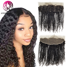 Closure Human-Hair Lace-Frontal Curly 16inch Kinky 13x4 Angelbella Brazilian Ear-To-Ear