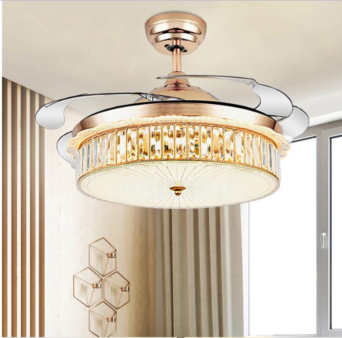"""Remote 42/"""" Invisible Ceiling Fan Light Lamp Chandelier LED Blades Dining Room"""