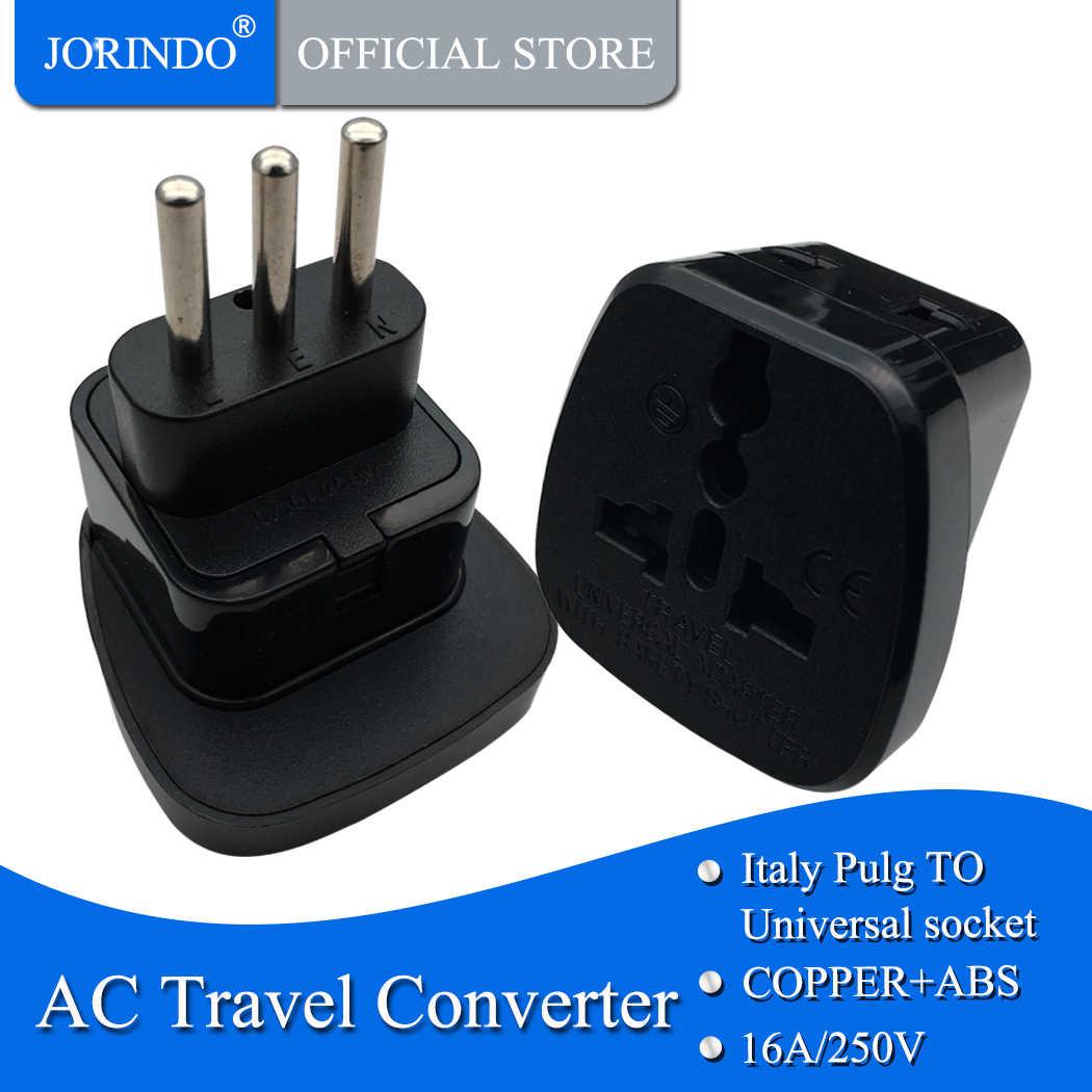 JORINDO 3 PIN อิตาลีแปลง UK US EU AU TO Italy Travel Adapter Plug สำหรับ Home TRAVEL ใช้กับความปลอดภัย GATE
