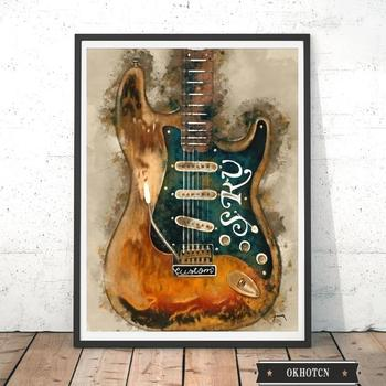 Wall Art Graffiti Painting Rock Guitar Printed on Canvas 4