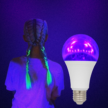2PCS UV Black Light Bulb E27 LED UV Bulb 2019 Violet Bulb UVA Level Glow Effect for Black Light Party Body Paint Fluorescent