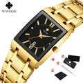 WWOOR Top Brand Luxury Gold black Square Quartz Watch Men Waterproof Casual Wristwatch Stainless Steel calendar Men watches 2020