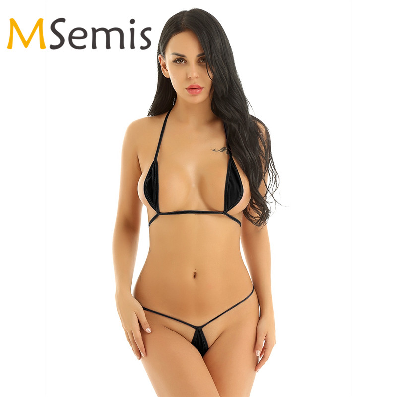 Women's Swimsuit Mini Micro Bikini Set Minimal Two Pieces Swimwear Self-tie Bra Top With G-String Underwear Female Swmming Suit