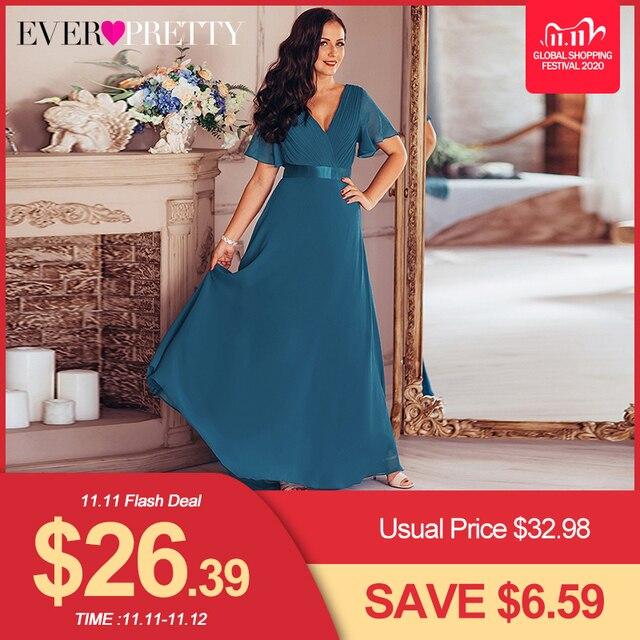 Grande taille robes de soirée jamais jolie col en v Nay bleu élégant a ligne mousseline de soie longue robes de soirée 2020 manches courtes robes doccasion