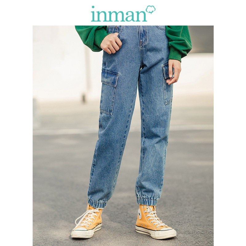 INMAN 2020 Spring New Arrival Personal Tooling Trend Pocket Ankle Fitting Washed Women Long Straight Jeans Pants