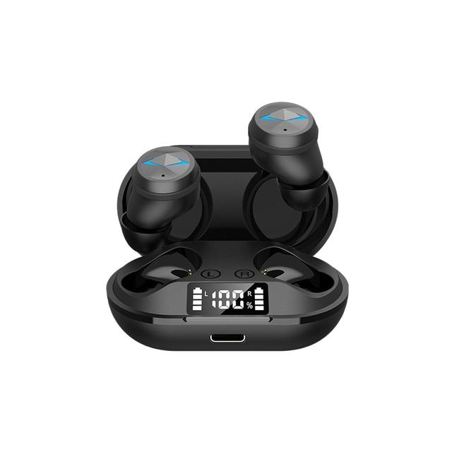 Tws bluetooth 5.0 fones de ouvido com microfone display led sem fio bluetooth fones à prova dwaterproof água cancelamento ruído fone 5
