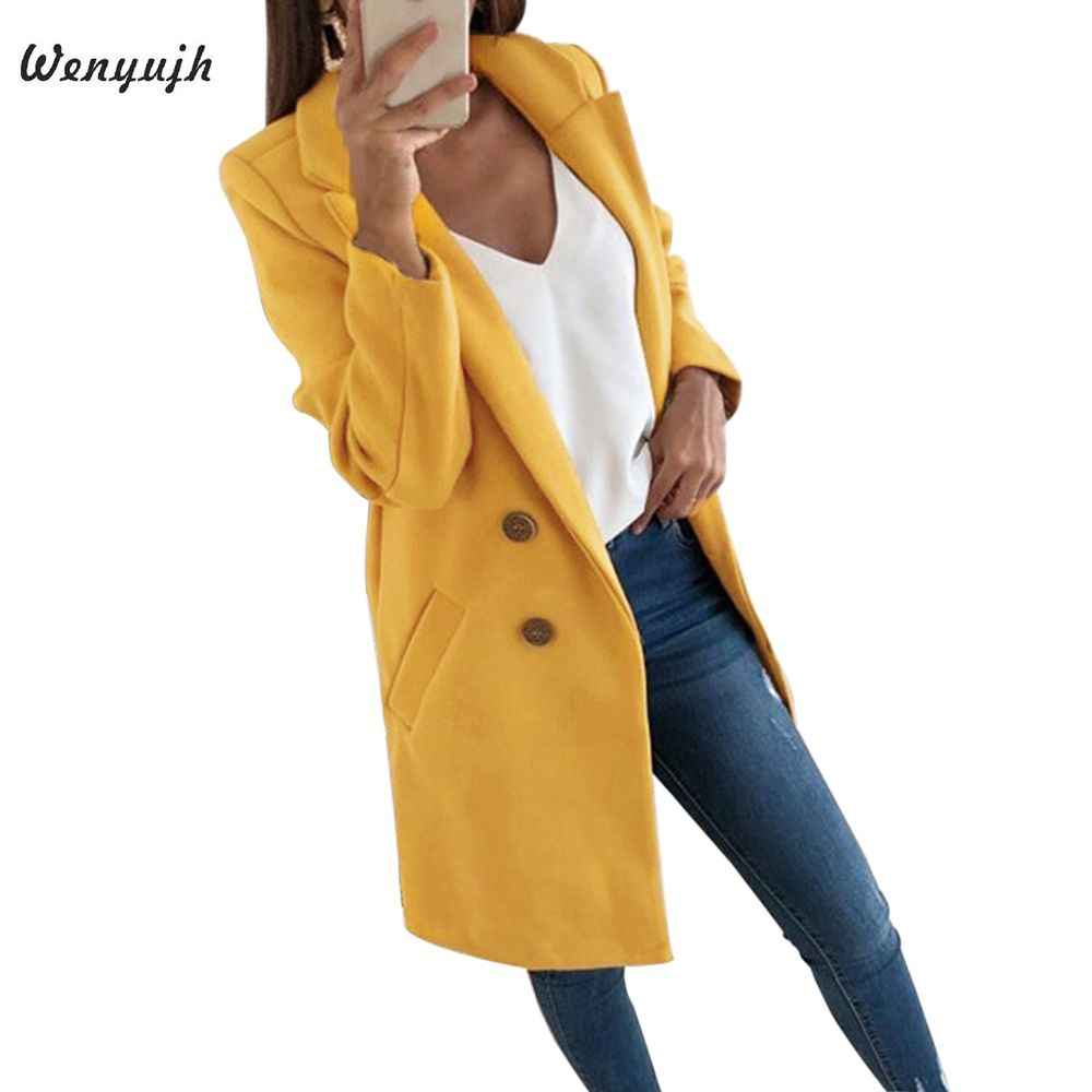 WENYUJH 2019 New Arrival Women Wool Blend Coat Long Sleeve Turn-Down Collar Warm Autumn Winter Wool Women Long Jackets Plus Size