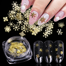 1 box Nail Glitter Powder Gold Metallic Hollow Snow Flakes Paillette Sequins Art Snowflake Tip Manicure Decoration BE889-1