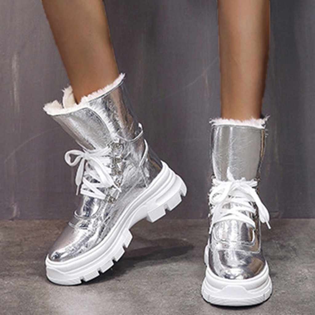 Patent deri parlak gümüş kar botları kadın su geçirmez dantel parlak platformları çizmeler kış kısa peluş sıcak kar botları t3